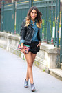 Leather-la-canadienne-jacket-denim-levis-shirt-clutch-maison-scotch-bag