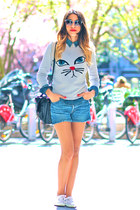 asos sweater - vICTORIA shoes - Levis shorts - Thierry Lasry sunglasses