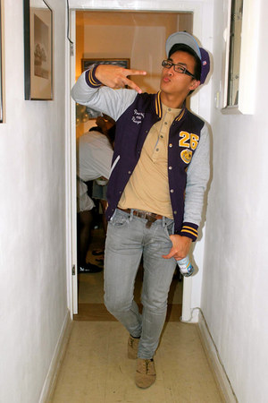 Baseball Jacket jacket - tan Lace up Oxfords shoes - gray Super Skinnies jeans