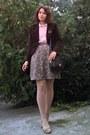 Dark-brown-velvet-thrifted-blazer-neutral-tights