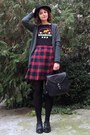 Ruby-red-plaid-esprit-skirt-black-leather-shoes-hat-black-thrifted-shirt