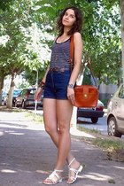 heather gray owl necklace - tawny thrifted purse - navy thrifted shorts