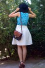 Turquoise-blue-paisley-thrifted-top-black-hat-burnt-orange-thrifted-purse