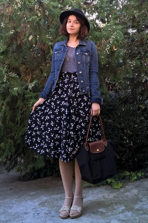 navy denim H&M jacket - black longchamp purse - black floral thrifted skirt