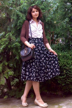 black thrifted purse - dark brown cardigan - black floral thrifted skirt