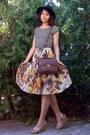 Eggshell-leaves-thrifted-skirt-black-hat-dark-brown-zara-purse