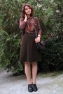 Black-thrifted-purse-dark-brown-cardigan-army-green-a-line-thrifted-skirt