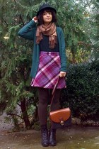 maroon H&M skirt - black leather boots - dark brown tights