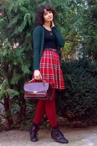 ruby red plaid pleated thrifted skirt - brick red tights - crimson vintage purse