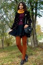 Black-dress-maroon-sweater-black-thrifted-blazer-burnt-orange-tights