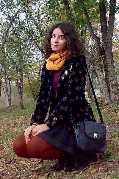 black dress - maroon sweater - black thrifted blazer - burnt orange tights