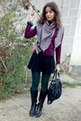 Light-pink-scarf-black-jacket-maroon-sweater-green-tights