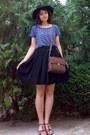 Black-gifted-h-m-hat-navy-bicycle-shirt-dark-brown-zara-purse