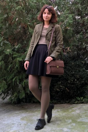 black leather Prego shoes - army green H&M blazer