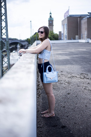 sky blue Primark bag - navy Forever 21 shorts - light blue Topshop top