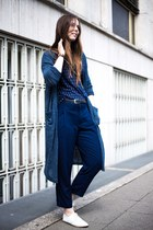 navy Zara shirt - tawny Zara bag - navy Zara pants - ivory Zara flats