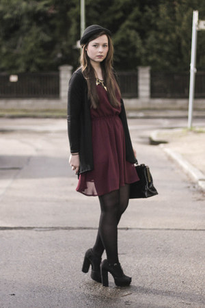 maroon H&M dress - black H&M hat - black H&M heels