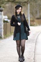 black H&M hat - forest green asos dress - black New Yorker bag
