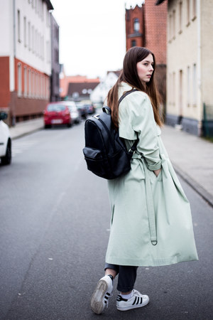 charcoal gray pieces t-shirt - green weekday coat - black asos bag