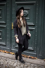 Black-h-m-hat-olive-green-vero-moda-sweater-black-h-m-blazer