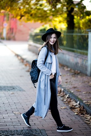 black H&M hat - heather gray new look coat - ivory Zara sweater