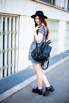 black vagabond shoes - black new look dress - black H&M hat