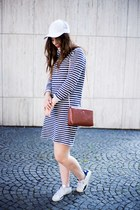 white Puma shoes - navy Gap dress - brown Zara bag