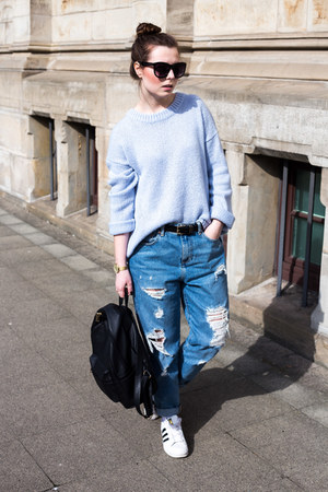 blue asos jeans - light blue Hallhuber sweater - black Daisy Street bag
