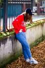Blue-zara-jeans-navy-newera-hat-red-new-england-patriots-sweater