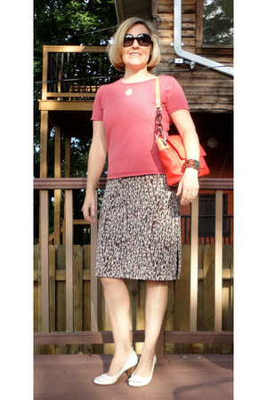 salmon Jones New York sweater - red bcbg max azria dress - milly bag