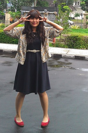 black dress - dark khaki vintage flower cardigan - beige belt - red flats