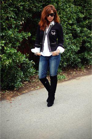 black White House Black Market cardigan - Paige Denim jeans - white Ralph Lauren
