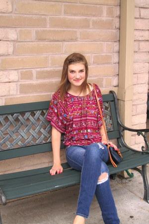 Lush shirt - hollister jeans - i Malispina purse