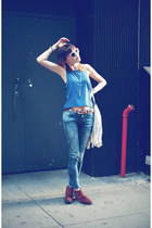 Zara boots - Zara jeans - H&M top