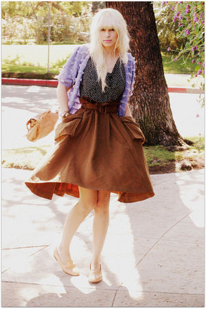 black vintage blouse - green H&M skirt - purple vintage cardigan