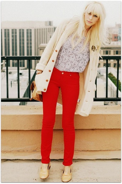 purple vintage blouse - red Zara pants - beige vintage cardigan