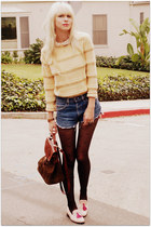 blue Levis shorts - bubble gum Steve Madden shoes - light yellow vintage sweater