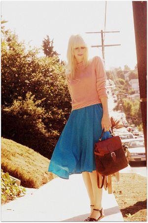 blue vintage dress - pink vintage sweater - green vintage bag