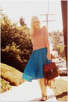 blue vintage dress - pink vintage sweater - green vintage bag