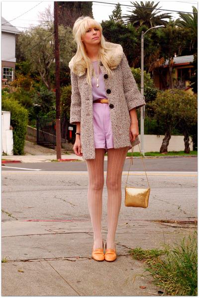 vintage blouse - vintage shorts - vintage bag