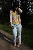 light blue Stella McCartney jeans - bubble gum COS sweater - aquamarine COS bag