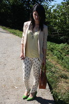 eggshell Zara pants - chartreuse asos shoes - beige H&M blazer