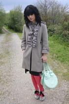 heather gray Manoush coat - white Topshop shoes - hot pink Miss Selfridge tights