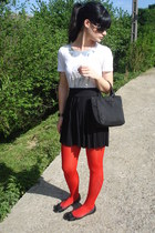 Prada bag - dior sunglasses - cynthia rowley flats - Manoush t-shirt - asos skir