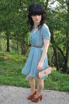 brown Guiseppe Zanotti heels - light blue Comptoir de cotoniers dress