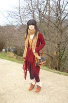 asos leggings - Topshop scarf - Dooney&Bourke bag - Mango jumper - Topshop cardi