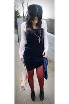 navy Casadei dress - eggshell Mango shirt - brick red Calzedonia tights