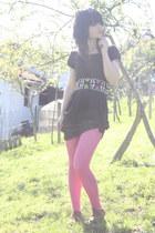 black Burberry dress - hot pink Miss Selfridge tights - yellow asos belt