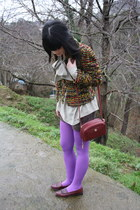 amethyst Dorothy Perkins tights - brick red Cole Haan shoes
