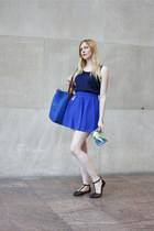 blue big blue  bag - blue high waisted Forever 21 skirt
